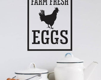 Farm Fresh Eggs Decal Farmhouse Rustic Country Kitchen Vinyl Wall Decal Hen Eggs Cooking Baking Pantry Fresh Eggs Wall Decal Kitchen Sticker