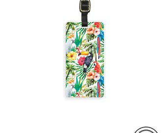 Tropical Birds Parrots Ferns Personalized Metal Luggage Tag  With Printed Custom Info On Back, Single Tag