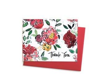 Fall Floral Thank You Boxed Notes, Blank Notecard with Camellias, Ranaculous, Peonies Fall Wedding Bouquet