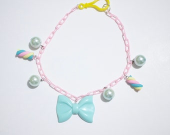 Pastel Chunky Bow Lightweight Candy Swirl Minty Beaded Plastic Curb Chain Necklace