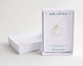 Mom Pearl Necklace - Mother of Bride Silver Necklace - Mother of Bride Delicate Necklace - Personalized Mother of Bride Gift
