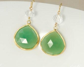 Gold Green Chrysoprase Teardrop Earrings - Crystal Quartz Beads - 14Kt GF, Mint Green Earrings