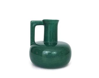 Vintage Emerald Green Ceramic Vase Pitcher // Modern Pottery