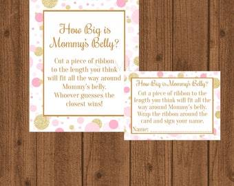 Pink and Gold How Big is Mommy's Belly, Pink and Gold Baby Shower, Mommy's Belly Baby Shower Game, Girl Baby Shower, Instant Download