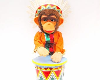 1950s Alps Indian Monkey Drum Toy Vintage Native American Tribal Headdress Chief Chimpanzee Battery Operated Rubber Face Musical Chimp Decor