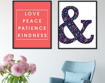 Ampersand Poster, And Sign Print, Nordic Scandinavian Modern Art, Living Room Home Decor, Love Typography Quote Motivational Inspiration
