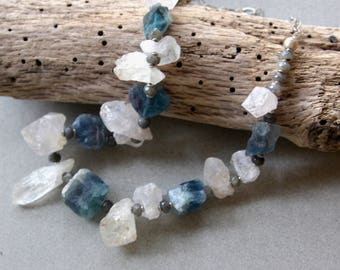 Storm Clouds: Raw Quartz and Fluorite Necklace Rough Nuggets and Jagged Crystal Points Blue and White w Grey Labradorite Gemstone Jewelry