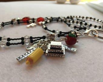 School Teacher ID Badge Lanyard with teacher charms and glass beads