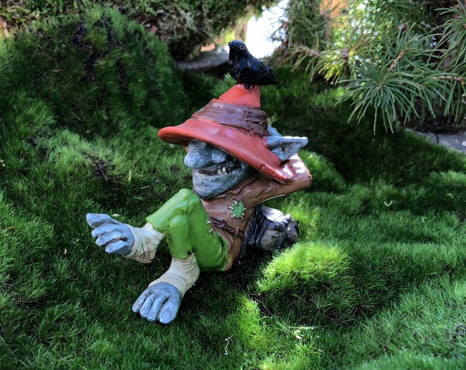 "Featured listing image: Miniature Troll, Relaxing Laid Back Troll ""Ray"" With Bird Figurine, Miniature Home & Garden Decor, Topper, Shelf Sitter, Gift"