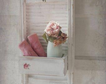 Farmhouse Shabby Chic Towel Rack. Bath Kitchen Wall Shelf w Towel Bar. Country charm Washboard display. White Copper Shabbychic roses