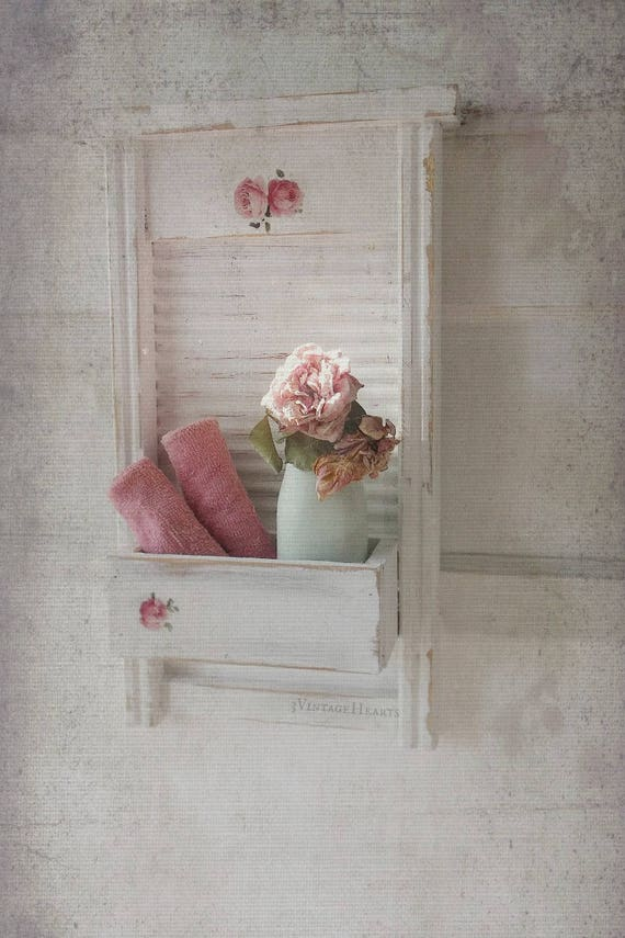 Farmhouse shabby chic towel rack bath kitchen wall shelf w for Shabby chic towel stand