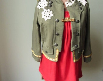 Military Jacket Women, Embellished Army Jacket, Upcycled Clothing, Shabby Chic Clothes, Green Boho Jacket, Recycled Clothing, Hipster Punk
