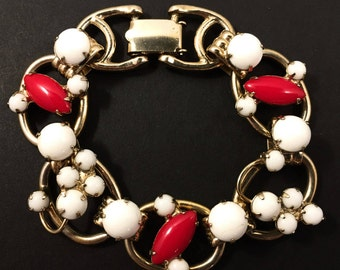 Juliana Bracelet, Vintage Jewelry, Juliana Jewelry, 5 Link Chunky Rhinestone Bracelet, 1950s Retro Red and White Vintage Bracelet, Gold Tone