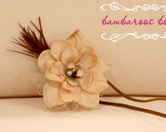 feather baby headband, newborn headbands, small tan brown flower, veil