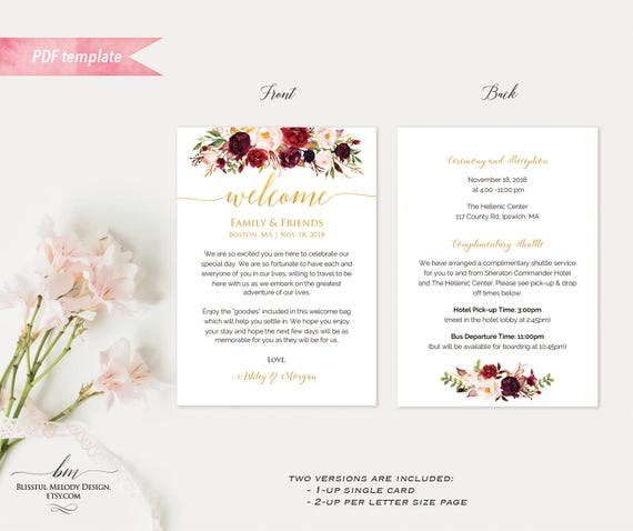 Printable Burgundy Floral Gold Wedding Welcome Letter Itinerary ...