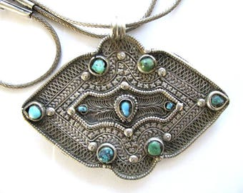 """Antique Tibetan Turquoise Pendant Necklace, Belt Buckle for Aporn, High Grade Silver, Filigree, 57cm (22 1/2""""), 3mm Snake Chain, 75 Grams"""