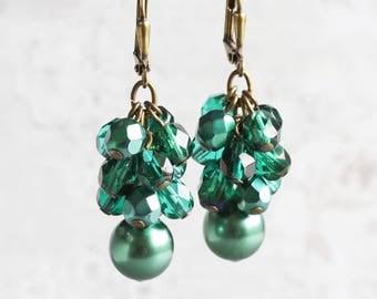 Emerald Green Cluster Dangle Earrings on Antiqued Brass Hooks