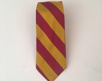 50s vintage USC Trojans silk necktie gold and cardinal red stripe 3 inch tie collegiate alumni Sherwoods