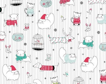 Christmas Cat Fabric - Christmas Dog Fabric - Christmas Fabric By The Yard - Per 1/2 Yard - Gray