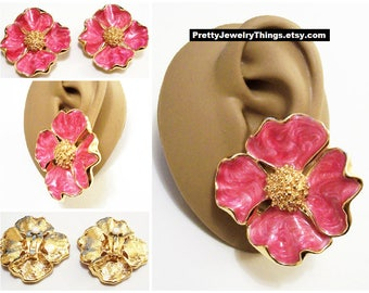 Pink Fuchsia White Pearl Marbled Padded Clip On Earrings Gold Tone Vintage Avon Large Dogwood Flowers Extra Large Scalloped Edges