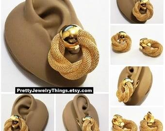 Avon Mesh Twisted Rope Hoop Clip On Earrings Gold Tone Vintage Large Round Weaved Metal Door Knocker Open Dangles