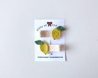 Lemon Hair Clip Set Glitter Summer Fruit Giddyupandgrow