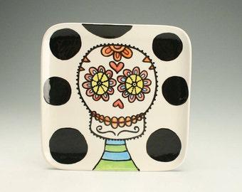 Square Day of the Dead Plate, Sugar Skull Ceramic Plate, Day of the Dead Art, Halloween Decor, Day of the Dead Ceramics