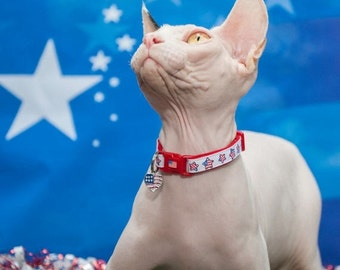 Fourth of July Cat Collar - American Flag Stars - Small Cat / Kitten Size or Large Size