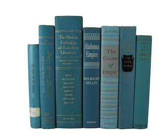 Blue Green Books, Decorative Books,  Farmhouse Decor, Blue Vintage Books,  Photo Props,  Centerpieces, Wedding Decor , Hostess Gifts
