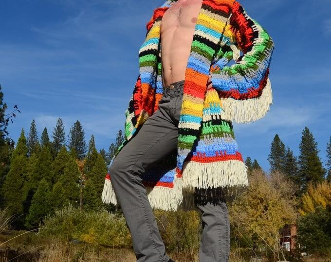 Crochet Sweater Robe Native Flash and Fringe