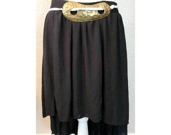 Vintage Hammered Brass Kidney Shaped Womens Corded belt