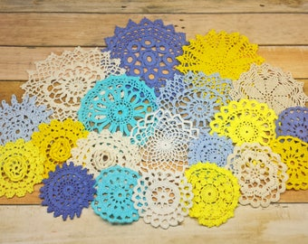 Colorful Doilies, 2.5 to 5 inch Doilies, Shades of Blue, Aqua, Yellows, White, and Beige, 20 Hand Dyed Vintage Crochet Doilies