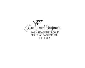Personalized Custom Return Address Rubber Stamp or Self Inking Stationery Invitation Flying Paper Airplane Home Sweet Home