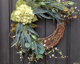 Summer Wreath-Fall Wreath-Wispy White Floral Branches-Twig Grapevine Door Wreath Decor-Use Year Round-Green Hydrangea-Green Foliage