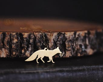 woodland fox. a gold plated whimsical forest animal necklace