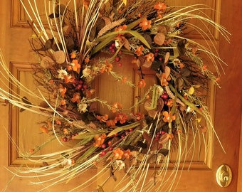 Fall Wreath , Door Wreath , Autumn Wreath , Woodland Wreath , Thanksgiving Wreath , Outdoor Wreath , Wild Fall