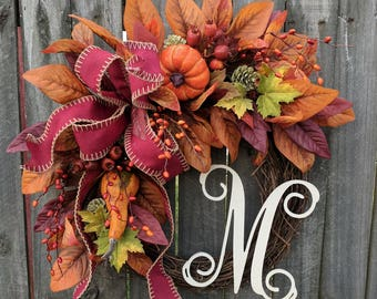 Fall Monogram Wreath, Fall Wreath, Autumn Wreath, Wreath, Door Wreath, Harvest Wreath, Grapevine Wreath, Halloween Wreath, Thanksgiving