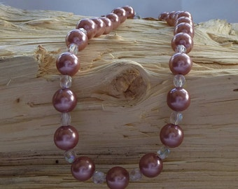 Pink Pearl Glass  Necklace