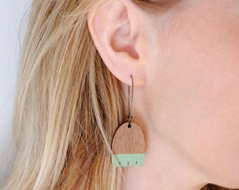 Wooden Mint Green Leaf Contemporary Hoop Earrings - Mint Green on Walnut