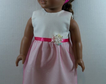 """Doll Dress & Headband fits American Girl 18"""" dolls, Our Generation, My Life, Journey Girls, 112, Pink, Glittery Party, Doll Dress"""