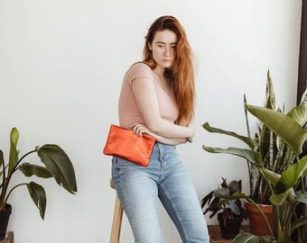 JANE Copper Clutch. Copper Leather Clutch. Orange Leather Clutch. Leather make up case