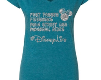 Disney Shirts/ Glitter Minnie Shirt/ Disneyland Shirt/ DIsney World Shirt/ Disney Life Shirt/ Plus Size Disney Shirts/ Disney Girls Trip
