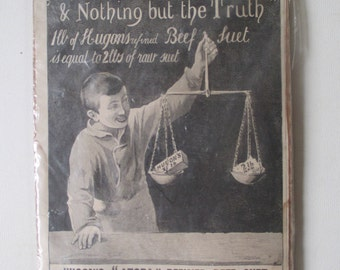 Hugon's 'Atora' Beef Suet Ad Vintage Antique 1896 Advertising Oddity Manchester England Wall Decor