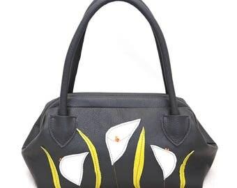 Gray Leather Callas Handbag art. 412