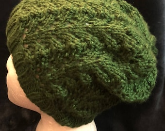 Green Fishtail Lace Slouch Beanie