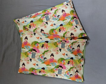 """Little Asian Girl Nation Pillowcase Set - Reversible! - Green and Silver Shimmer! Floral Back - Standard Size - Cotton - 20 x 30"""""""
