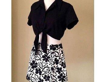 Vintage 1990's Black and White Floral Skort with Solid Solid Black Crop Top Two Piece Set