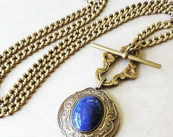Lapis Lazuli Necklace Long Toggle Front, Statement Necklace Vintage Gemstone Jewelry Lapis Pendant Large, Statement Jewelry veryDonna