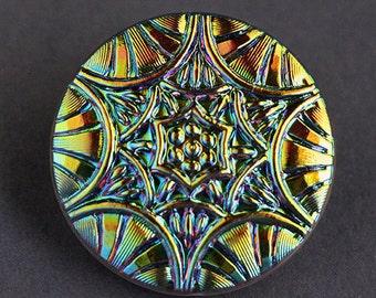 Czech Glass Button, Vintage Iridescent Mandala Blue Green Purple AB Finish Shank Button 28mm