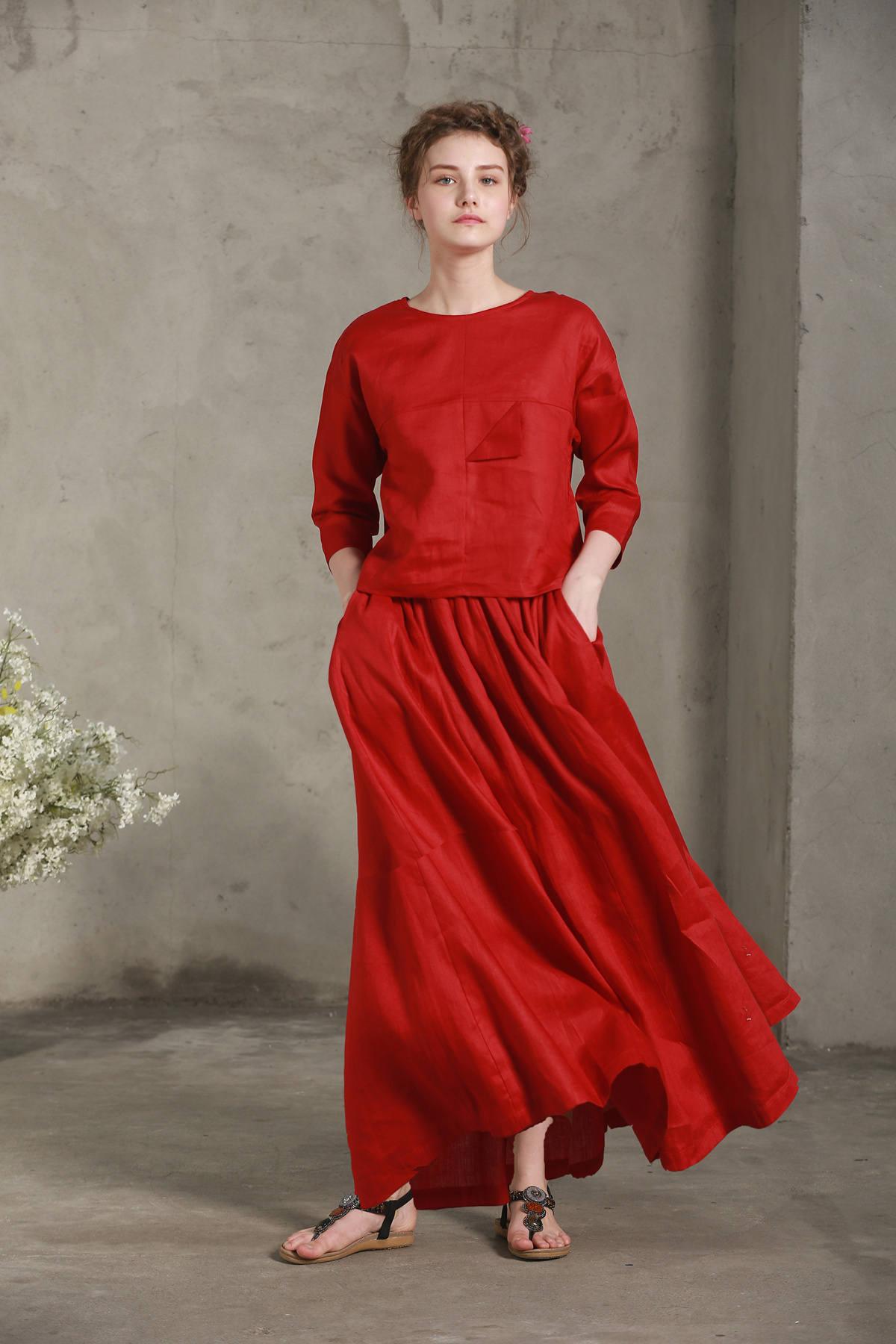 linen skirt maxi skirt trendy skirts retro maxi